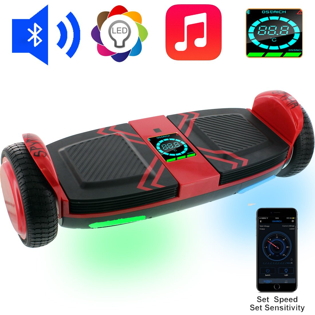 OSDRICH A8 Hoverboard with Bluetooth Speaker Self Balancing Scooter, LED Lights, Smart App Control (UL 2272 Certified) (Red) by OSDRICH