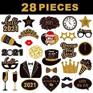Amazon.com: KKKBES 2021 New Year Photo Booth Props New Years Eve Photo Props 2021 Happy New Year ...