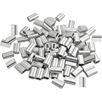 50 Piezascable de Manga de Aluminio, Accesorios de Clip de Aluminio para Cable, para Correas para Perros u Otros Objetos…
