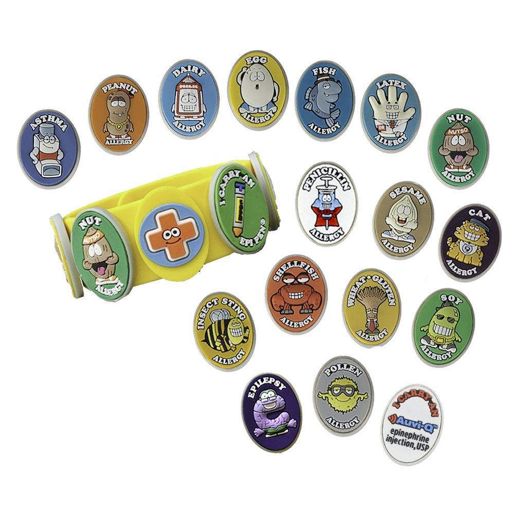 AllerMates Kids Medical Charm - Berry Children's Medic Alert Allergy Awareness Bracelet Accessory
