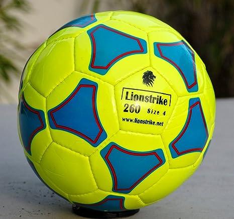 Balón de fútbol Lionstrike, de piel, tamaño 4, amarillo: Amazon.es ...