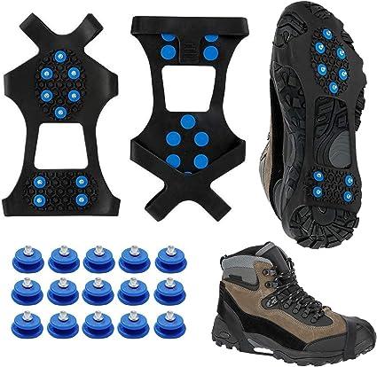 Rakaraka Schuhspikes,Schuhkrallen,Steigeisen,Schuh Spikes f/ür Bergschuhe,mit einem 15er-Pack Ersatz-Schneespikes f/ür Damen,Herren und Kinder