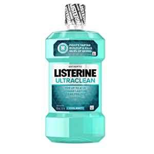 Listerine Ultraclean Oral Care Antiseptic Mouthwash with Everfresh Technology to Help Fight Bad Breath, Gingivitis, Plaque and Tartar, Cool Mint, 500 ml