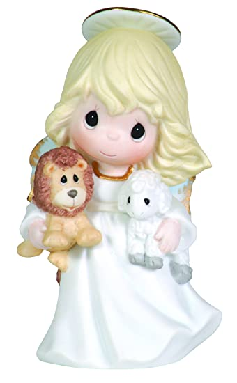 Amazon Com Precious Moments Angel Holding Lion And Lamb Figurine