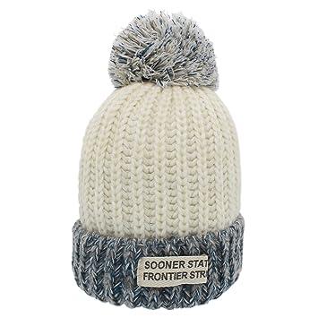 Sombreros de invierno para mujer - YOPINDO Bobble sombrero para mujer Tejer  gorros de lana Snowboard 79b1ffdc43c