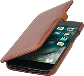 StilGut Book Type Case, Custodia a Libro Booklet Custodia Orizzontale, Cover Apertura Laterale in Vera Pelle per Apple iPhone 8 Plus, Cognac con Clip