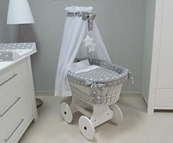 Wicker cradle Moses basket Wicker Crib with canopy+full bedding set - White & Wicker cradle Moses basket Wicker Crib with canopy+full bedding ...