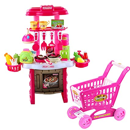 65 PCS Cute Colorful Kids Simulation Kitchen Toy Kitchen Pretend Playset Role Play Toy Kit with