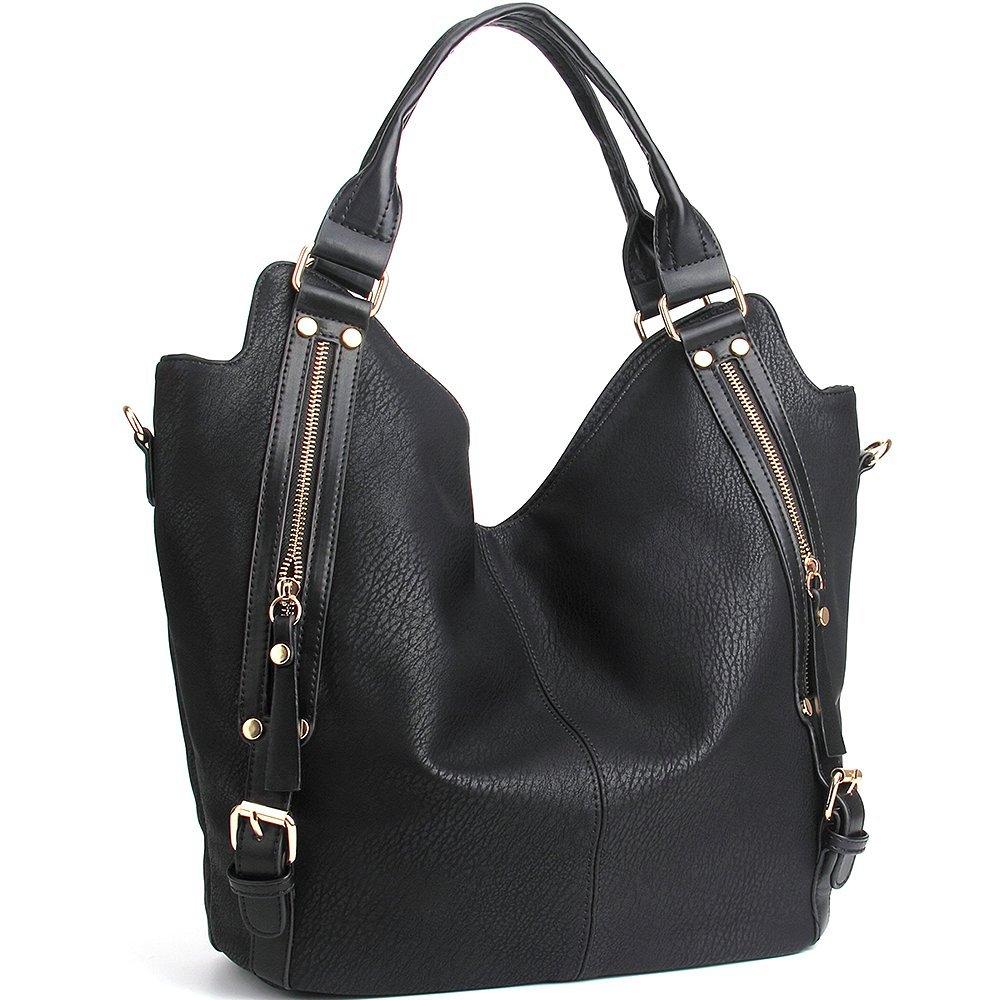 JOYSON Women Handbags Hobo Shoulder Bags Tote PU Leather Handbags Fashion Large Capacity Bags Black