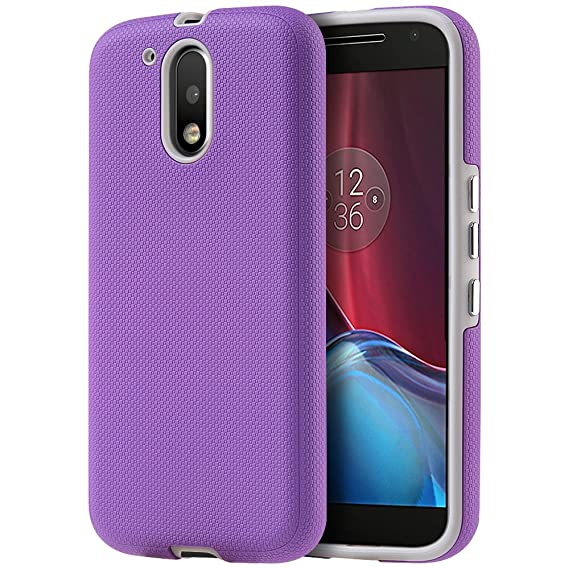d7ee6e78473 DreamWireless Funda para Motorola Moto G4/Moto G4 Plus, Doble Protector de  Uso Rudo con Botones, Color Morado: Amazon.com.mx: Electrónicos