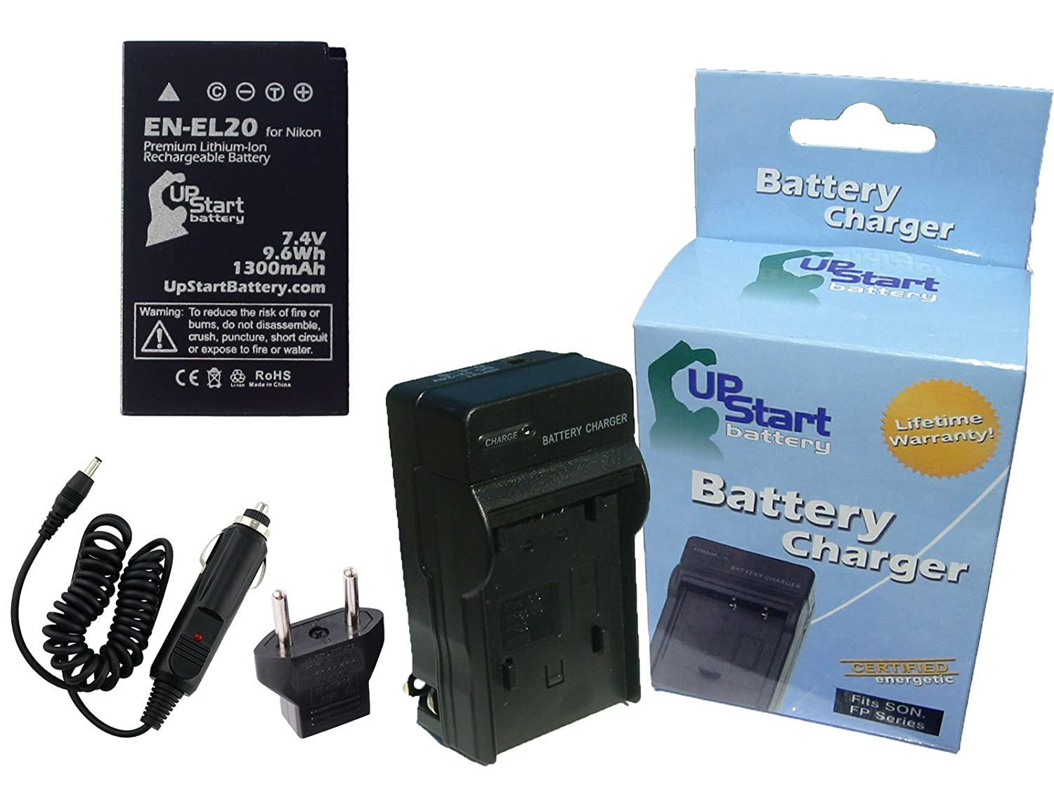Nikon 1 J3 Battery and Charger with Car Plug and EU Adapter - Replacement for Nikon EN-EL20 Digital Camera Batteries and Chargers (1300mAh, 7.4V, Lithium-Ion) Upstart Battery EN-EL20-KIT-CAR-EU-DL3