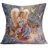 Gallity Small Town Angel Christmas Decorations Decor Square Linen Blend Christmas Pillow Case Fall Autumn Room Sofa Car Decorative Throw Pillow Case Cushion Cover 18X18Inch (E)