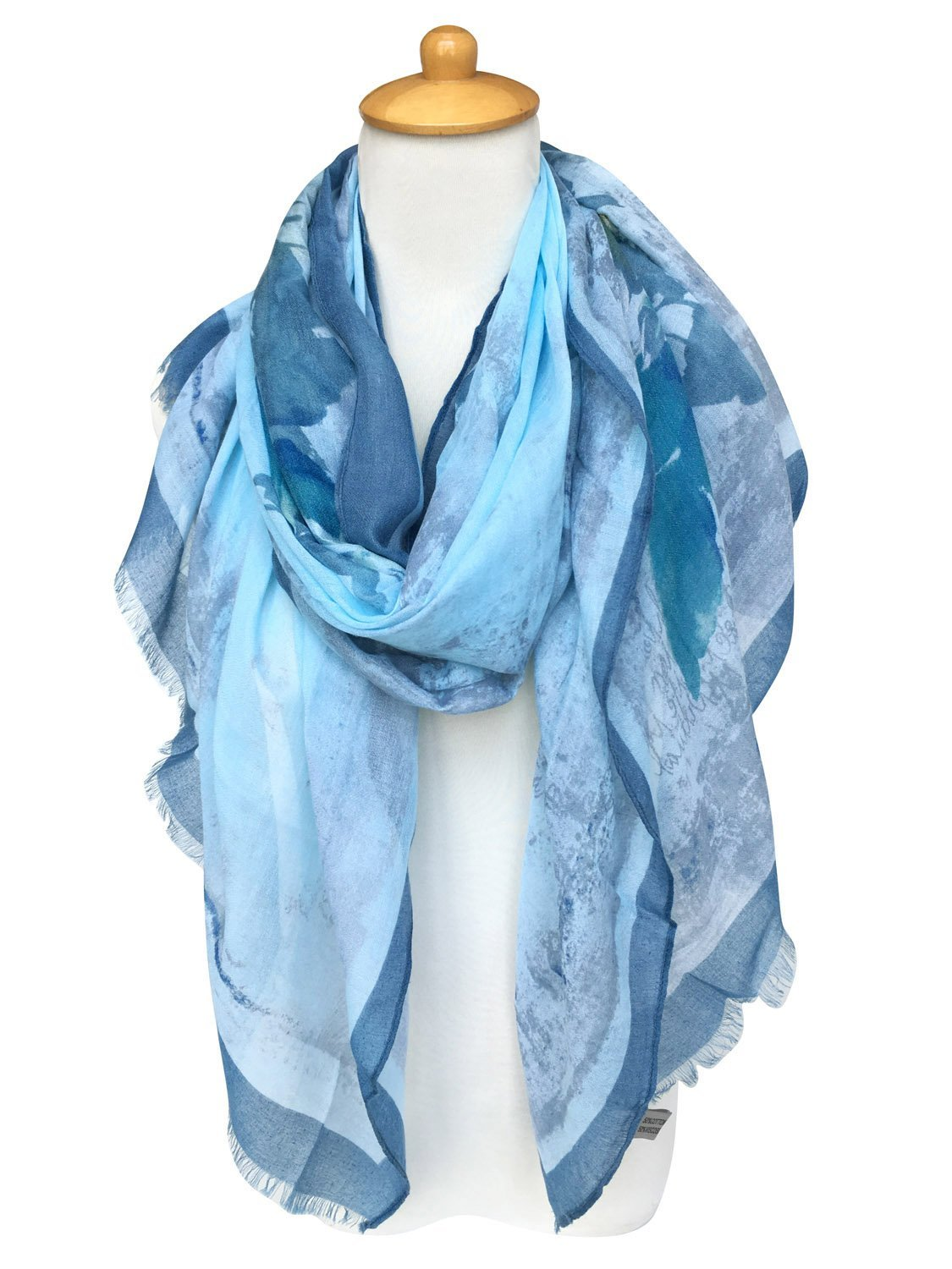 GERINLY Summer Scarfs Rosa Chinensis Print Beach Wrap Womens Travel Shawls (AzureBlue) by GERINLY (Image #2)