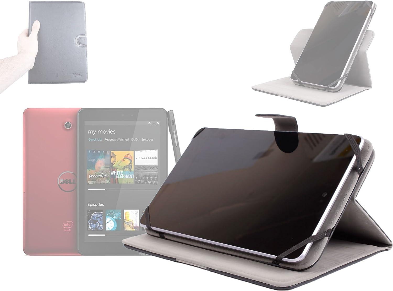 DURAGADGET Black Faux Leather Rotating Folio Cover with Multi-Angle Stand for Dell Venue 7 & Dell Venue 8