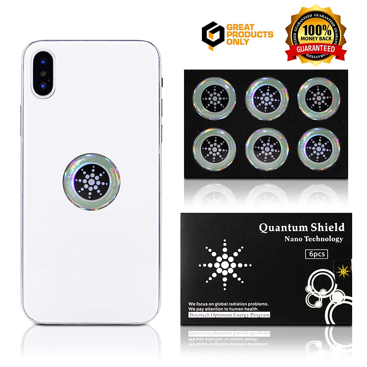 premium selection 44c48 a5649 EMF Protection Cell Phone Shield Sticker Silver (6pc), Radiation Protection  for - Cell Phone/Laptop/Computer/Tablet/WiFi/Router/iPad - EMF Radiation ...
