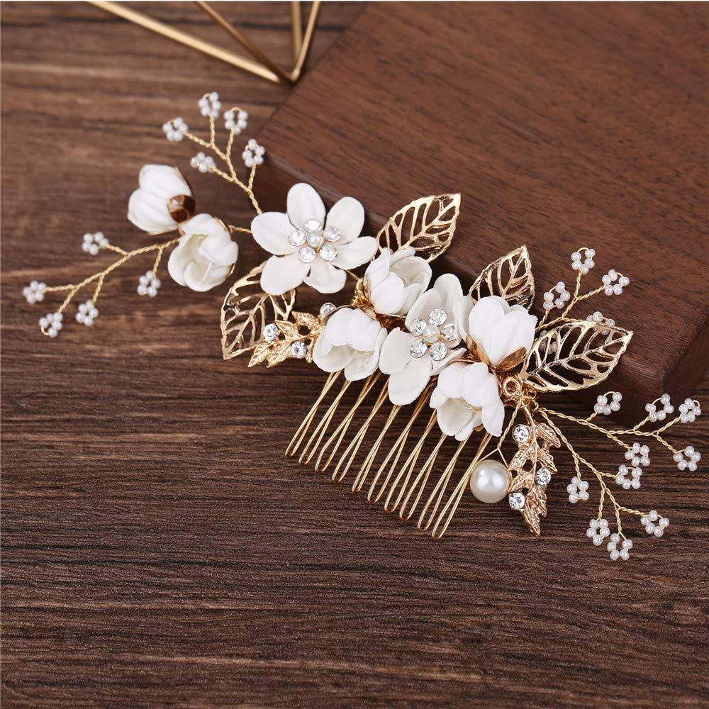 Bride Wedding Hair Comb Flowers Pearl Bridesmaids Hair Piece Accessories Vintage Bridal Hair Clips for Women and Girls (White) by SWECOMZE