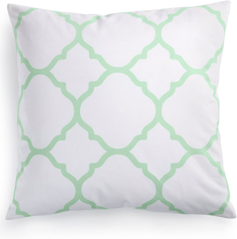 Amazon Com Charter Club Throw Pillow White Mint Green Damask Designs 16 Home Kitchen
