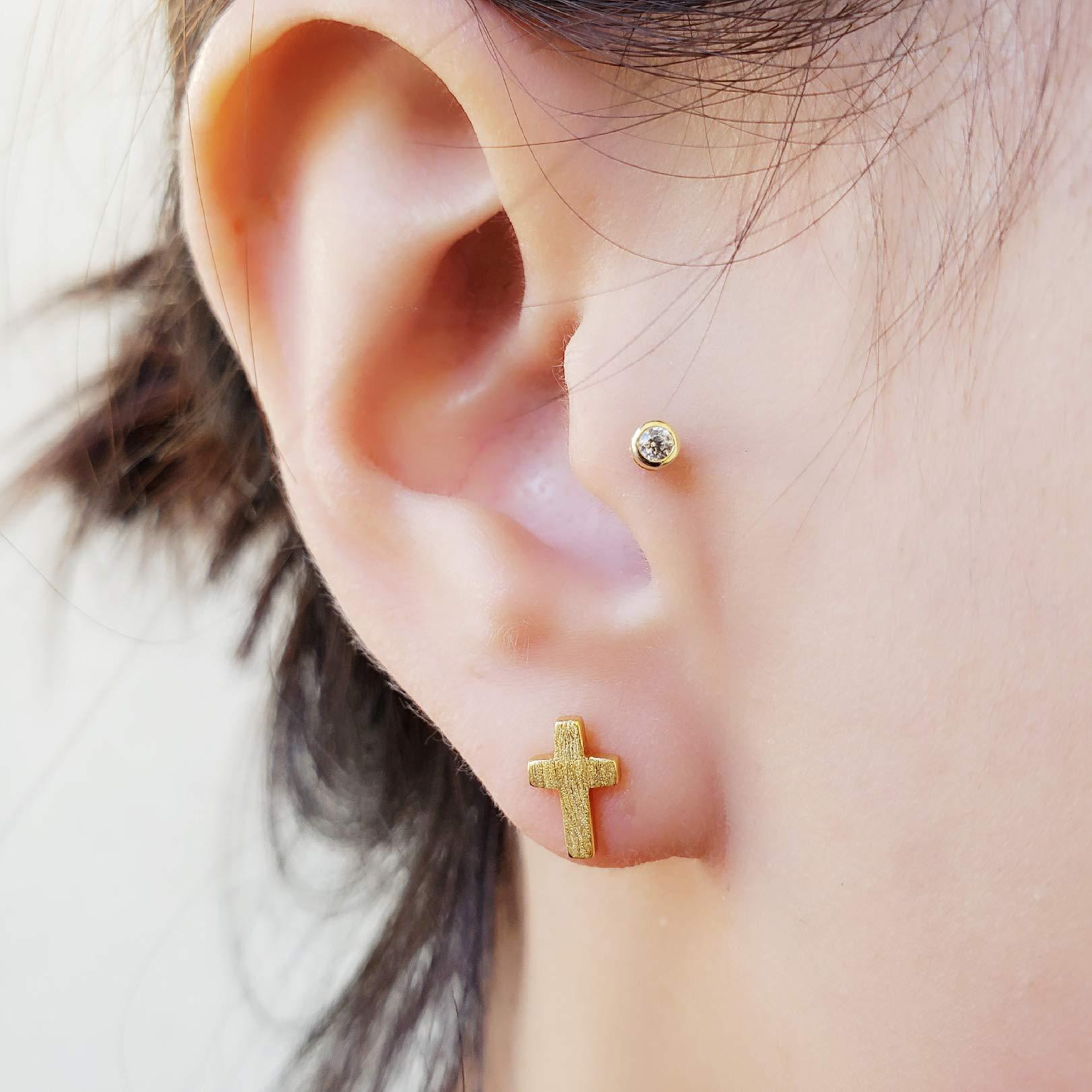 Spoil Cupid Rhodium-Plated 925 Sterling Silver Matte Finish Textured Mini Latin Cross Stud Earrings