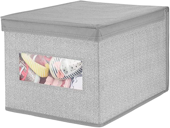 mDesign Caja con Tapa apilable para Armario, Dormitorio y más – Organizador de Armario de Fibra sintética Grande – Contenedor de Tela para Guardar Ropa con Tapa y Ventana – Gris: Amazon.es: Hogar