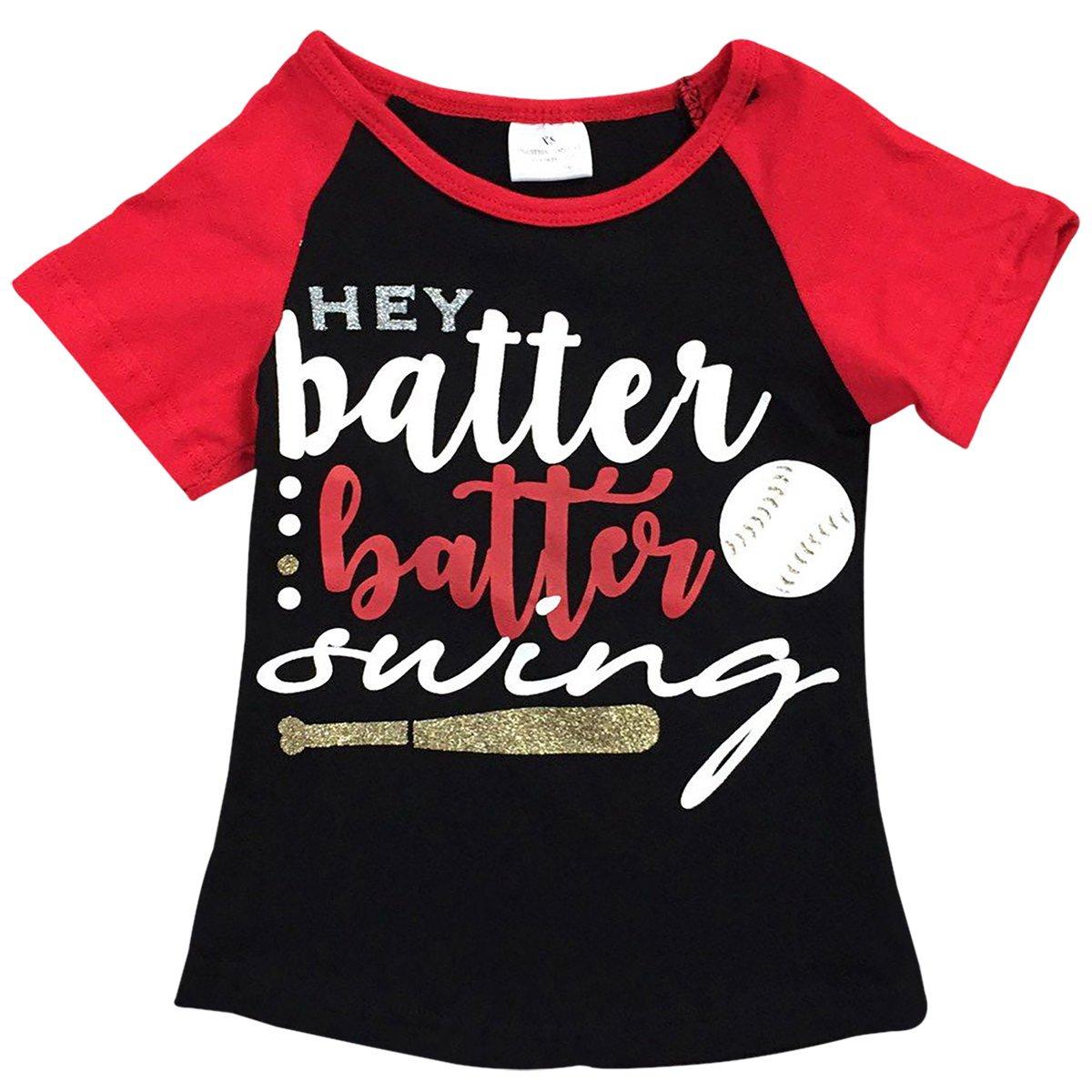 Big Girls' Short Sleeve Batter Swing Baseball Raglan Summer Top T Shirt Tee Black 6 XL (P501385P)