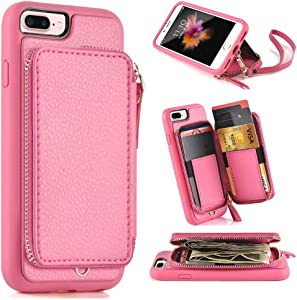 iPhone 8 Plus Wallet Case,iPhone 7 Plus Wallet Case,5.5 inch, Leather Wallet Case with Credit Card Holder Slot Zipper Wallet Pocket Purse, Protective Cover for Apple iPhone 8 Plus/7 Plus - Rose