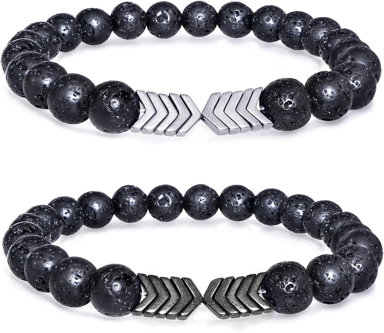 Gleamart 2 Piezas Lava Rock Stone Bead Bracelet Arrow Essential Oil Diffuser Volcanic Stone Bracelet para Hombres Mujeres
