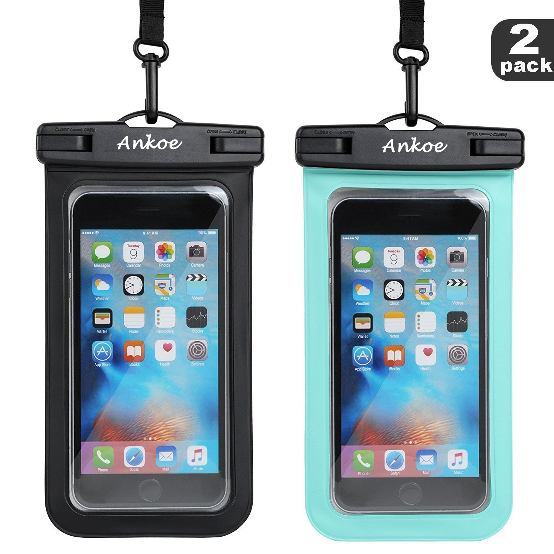 ユニバーサル防水ケース、aNkOe 2パックipx8防水ポーチWater GamesドライバッグアウトドアスポーツケースiPhone X 8 7 7 Plus 6s Plus Note 5 s7 s6エッジLG電話、最大6.0インチ B07D5S5NKB  ブラック+ブルー