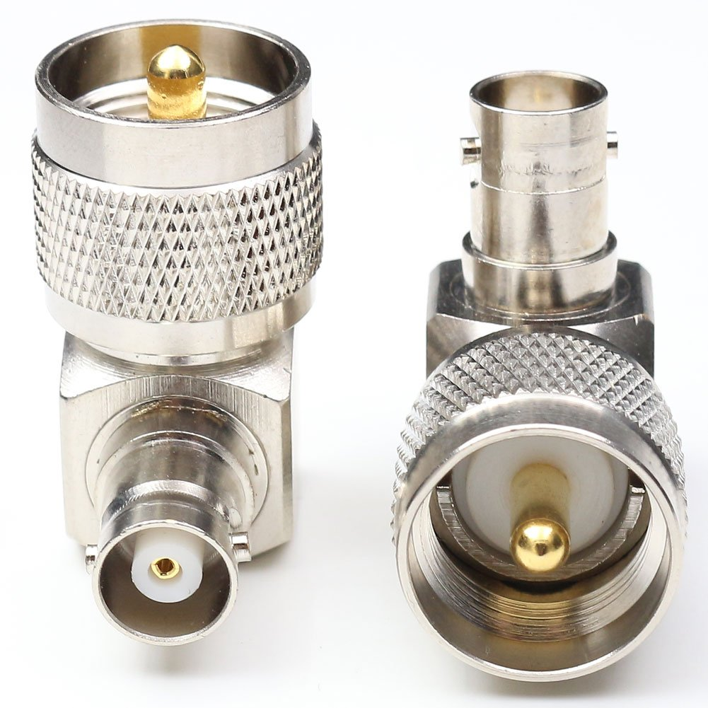 Right angle 90 degrees RF Coax Connector PL259 Cable Connector PL259 UHF male Plug to BNC female Jack adapter Radio Adapter 2 Packs
