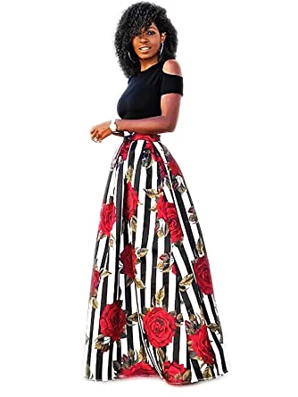 6566bd20dd Women Casual High Waisted Black White Stripe Rose Printed Maxi Long Skirt  with Pockets Plus size at Amazon Women's Clothing store: