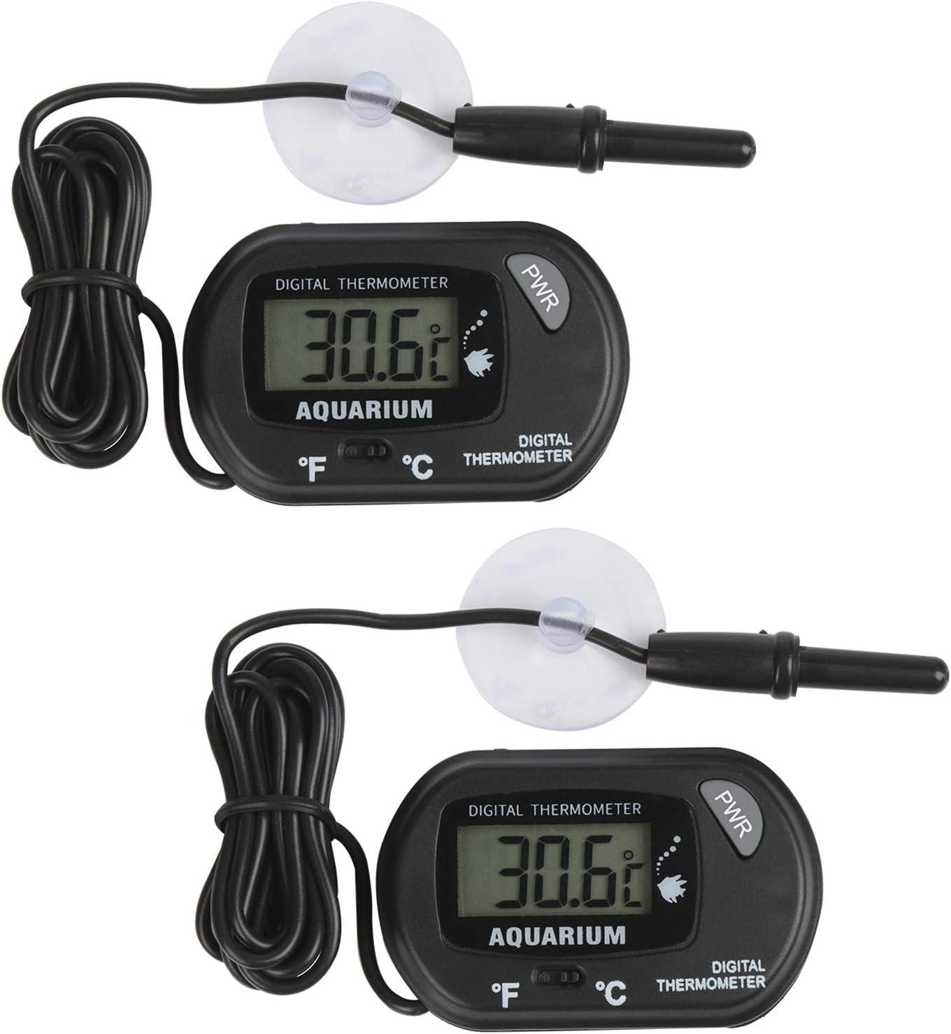 Thlevel 2 Pack Termometro Digitale LCD con Esterno Sonda e Ventosa per Acquario -50/70°C