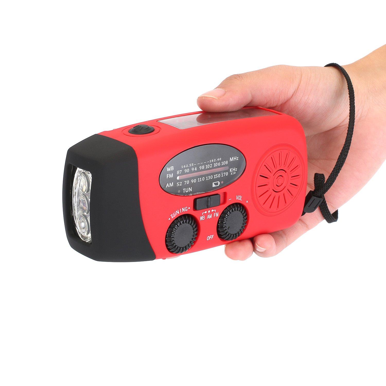 Zoostliss 1000mAh Emergency Hand Crank Self Powered AM/FM NOAA Solar Weather Radio with LED Flashlight