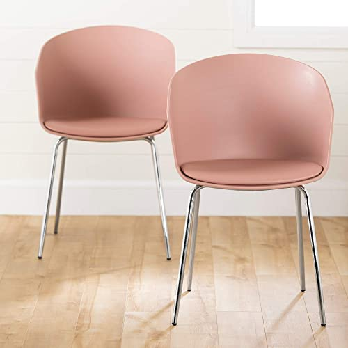 South Shore Flam Dining Chairs-Pink and Silver