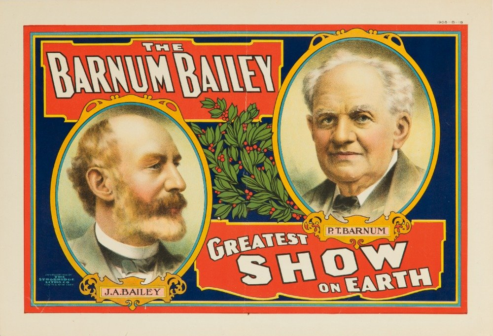 P。T。バーナムとベイリー – Greatest Show on Earth ( Cameos、Horiz )ヴィンテージポスターUSA C。1908 36 x 54 Giclee Print LANT-62914-36x54 B01MG3O6Y5  36 x 54 Giclee Print