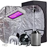 "TopoGrow LED Grow Tent Complete Kit LED 300W LED Grow Light Kit +24""X24""X48"" Indoor Grow Tent + 4"" Fan Filter Ducting Combo H"