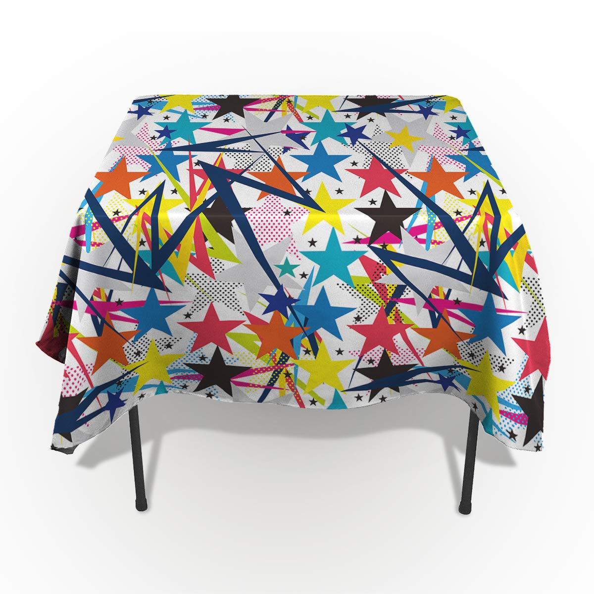 Fantasy Star 長方形ポリエステルテーブルクロス マルチカラー 幾何学模様 三角形テーブルクロス 洗濯機洗い可能 テーブルカバー 装飾テーブルクロス キッチン ダイニング 宴会 パーティー用 54