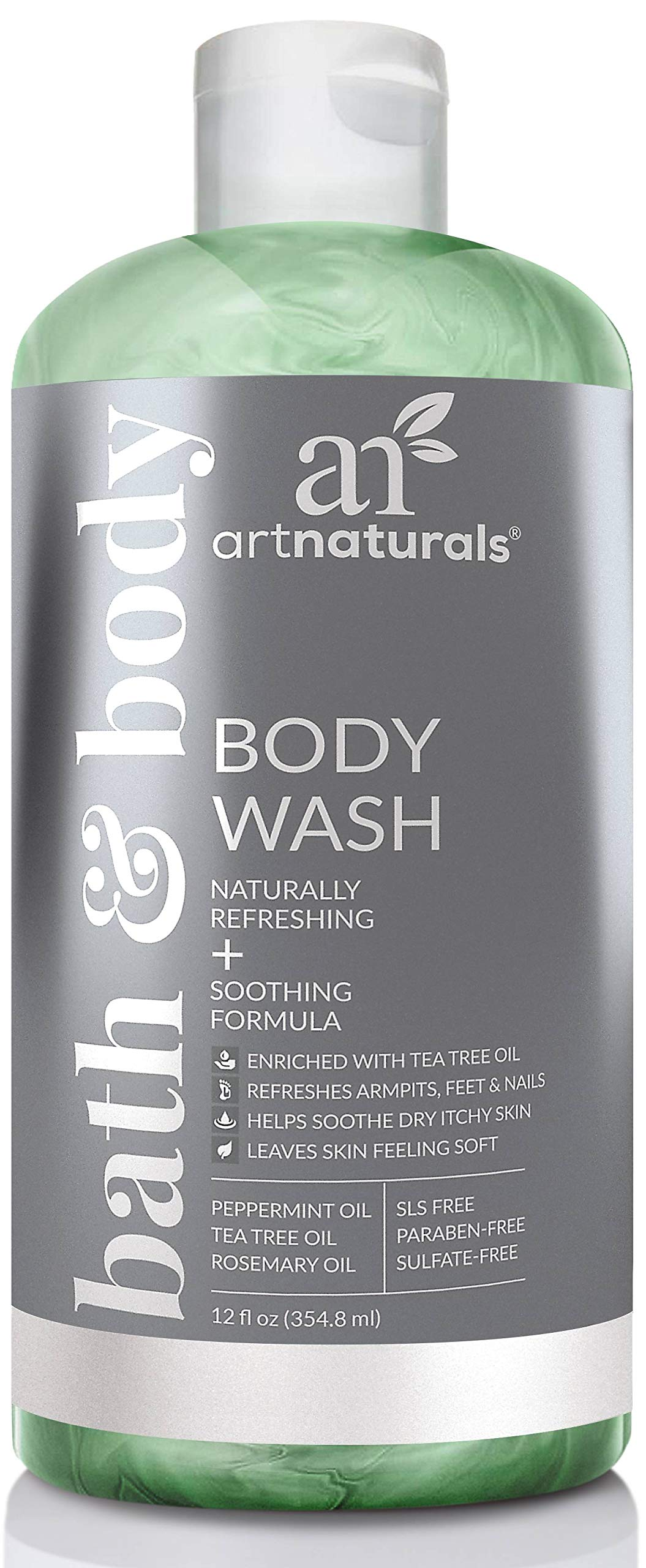 ArtNaturals Tea Tree Body and Foot Wash - (12 Fl Oz / 355ml) - Peppermint and Eucalyptus Oil - Natural Anti-Bacterial Soap - Eczema Anti-Fungal Feet, Dry Skin, Jock Itch, Acne Athletes Foot Treatment by ArtNaturals