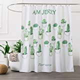 Extra Long White Fabric Printing Shower Curtain Washable for Bathroom with 12 White Hooks,72Wx78H,Cactus