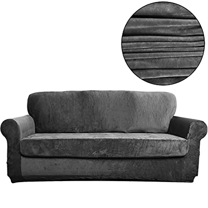 Wondrous Tienciy 2 Piece Modern Velvet Sofa Slipcover Covers For Living Room Couch Covers For Dogs Sofa Slipcover Couch Slipcover Sofa Frost Grey Solid Alphanode Cool Chair Designs And Ideas Alphanodeonline