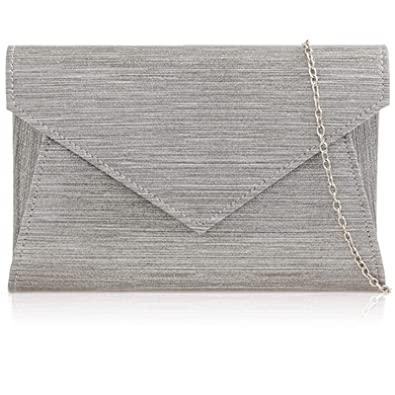 WOMENS PATENT LEATHER EVENING ENVELOPE CLUTCH SILVER CHAIN HAND BAG PROM PURSE