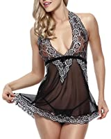PERFECT LOVE Donna Lingerie Sets Sleepwear Lace Sexy Babydolls Biancheria