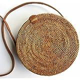 Seagrass Woven Bali Handbag Straw Bag Bamboo Bag Purse Round Shape Luxe Beach Bag for Women Blogger Fave