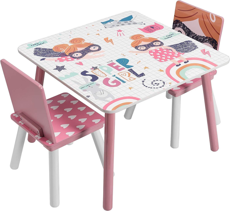 EUGAD Juego de Mesa y 2 Sillas Infantiles Grupo de Asientos para Niños Muebles de Madera y MDF para Niños Rosa 0006ETZY