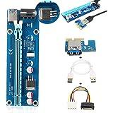 ELEGIANT PCI-E Express 1x to 16x Extender Riser Board Card Adapter Riser Karte USB 3.0 Kabel mit SATA Kabel