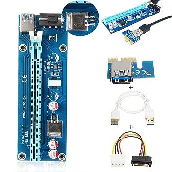ELEGIANT PCI-E Express 1x a 16x Extender Riser Board Tarjeta de Adaptador Riser Karte USB 3.0 Kabel con SATA Kabel