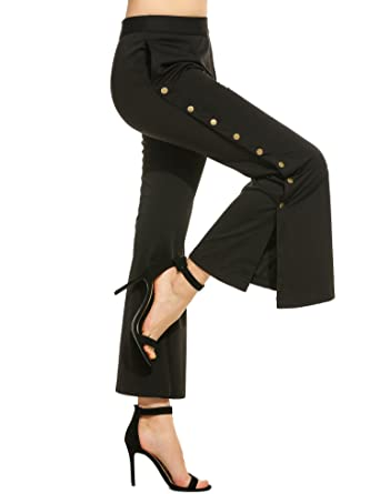 bb606cb981 Zeagoo Women's Autumn Comfy Flowy Wide Leg Pants Side Split Button High  Waist Flare Pant,