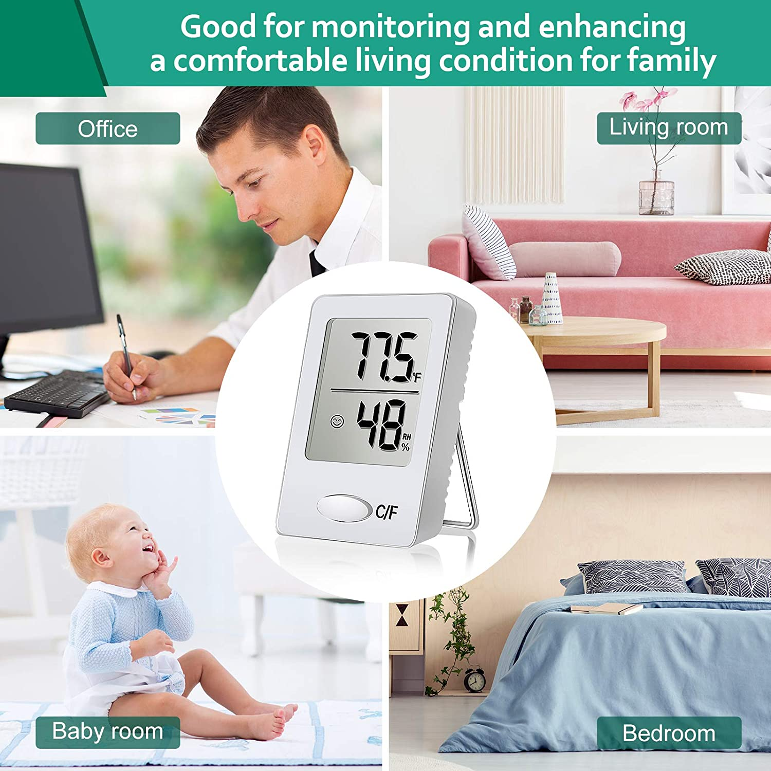 White Weewooday 2 Pieces Digital Hygrometer Mini Indoor Thermometer Humidity Gauge Meter Temperature Humidity Accurate Monitor Meter for Home Office