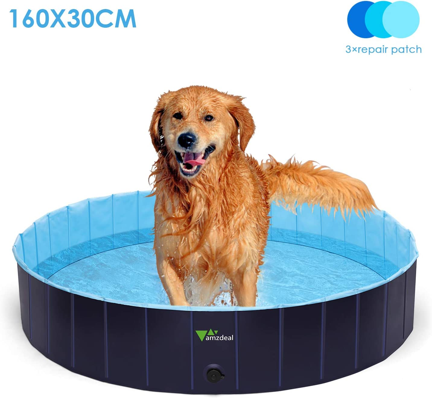 amzdeal 600L Piscina para Perros - Bañera Plegable para Mascotas, Piscina Grande Resistente y Estable, PVC Antideslizante, Múltiples Usos para Mascotas y Niños φ160*30cm