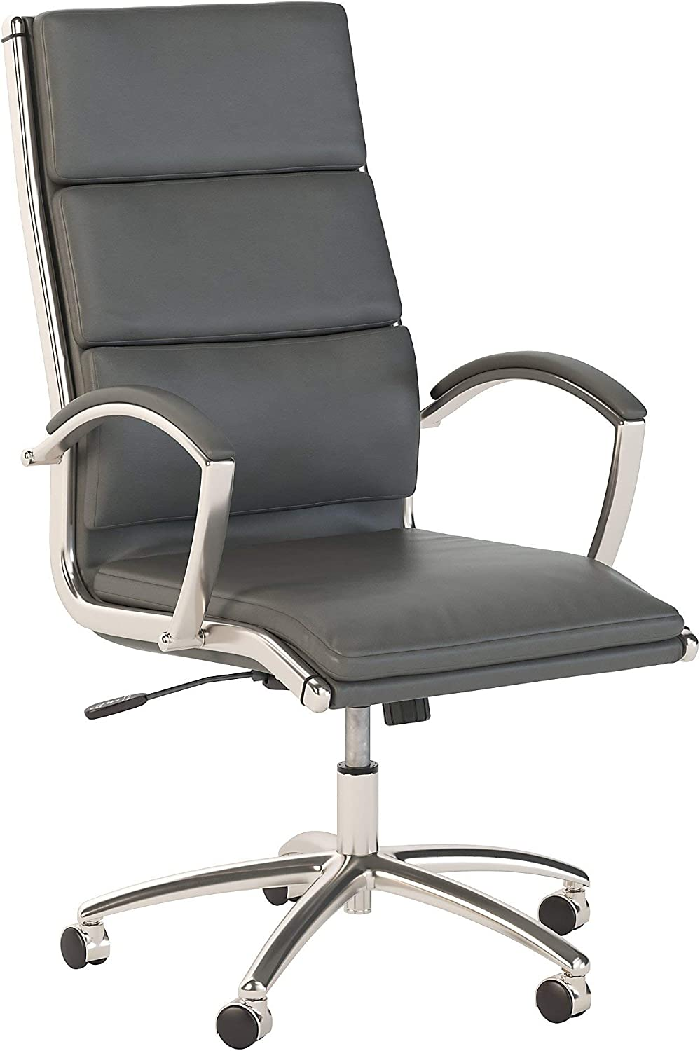 Bush Business Furniture 400 Series High Back Leather Executive Office Chair in Dark Gray