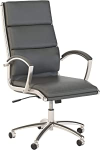 Bush Business Furniture Modelo High Back Leather Executive Office Chair in Dark Gray