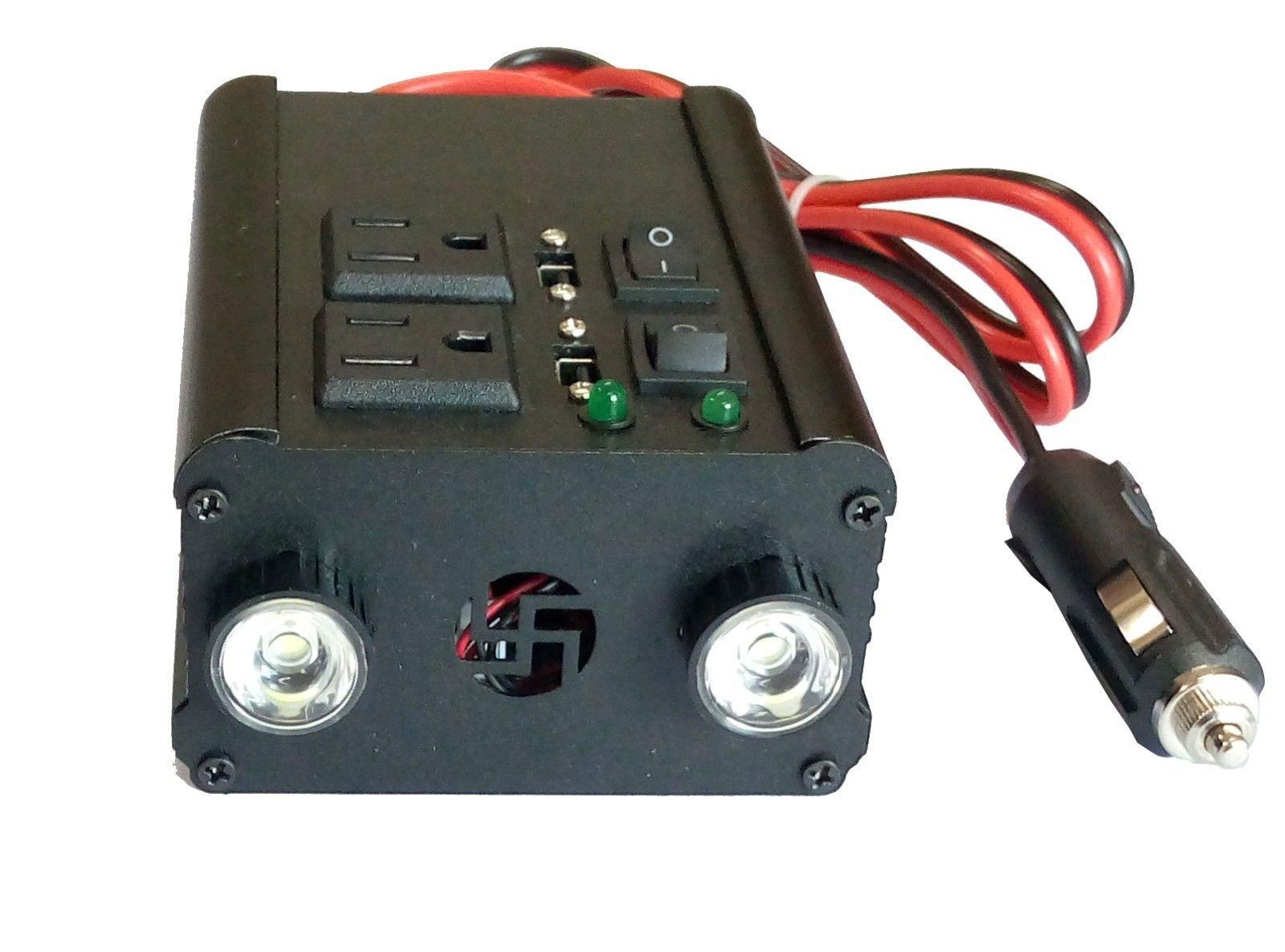 600W peak 300W Modified Sine Wave Power Inverter DC 12V to AC 110V /2×USB 5V/10W(2×5W)LED light/mobile charger